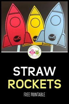 Make Simple Printable Rockets and Watch Excitement Soar - Space Theme for Preschool - Your kids can easily launch these fun free printable rockets with a simple straw. Lots of ideas for - Transportation Theme Preschool, Space Theme Preschool, Space Activities For Kids, Preschool Activities, Outer Space Crafts For Kids, Space Printables, Free Printables, Preschool Rocket, Space Classroom