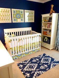 blue, green and white nursery - Indigo Summer Crib Skirt