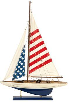 American Flag Wooden Sailboat