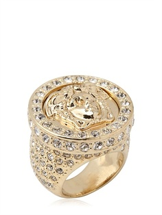 VERSACE - MEDUSA CRYSTALS GOLD PLATED METAL RING