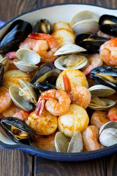 This seafood pasta is a mix of shrimp, clams, mussels and scallops, all tossed together with spaghetti in a homemade tomato sauce. Mixed Seafood Recipe, Seafood Boil Recipes, Seafood Paella, Fresh Seafood, Pastas Recipes, Cooking Recipes, Pasta Spaghetti, Shrimp Pasta, Bacon Wrapped Scallops
