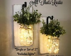 Stunning Wall Sconce, Wall Decor, Home Decor, Mason Jar Sconce, Wall Sconce, Lighted Sconce, Greenery, Mason Jar Decor, Rustic Wall Decor