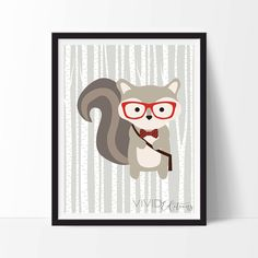 Woodland Squirrel Nursery Art Print, Hipster Squirrel, Forest Animal Nursery Decor, Baby Room, Home Wall Art, Giclee Art Poster, Not Framed by VIVIDEDITIONS on Etsy https://www.etsy.com/nz/listing/244166583/woodland-squirrel-nursery-art-print