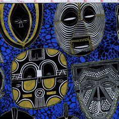 African Masks fabric per half yard called African Spirit/ Tribal print Mask/ Ethnic fabric/ African fabric