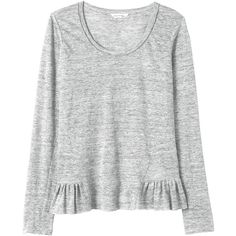 Rebecca Taylor Linen Jersey Tee ($89) ❤ liked on Polyvore featuring tops, t-shirts, shirts, sweaters, grey heather, heather grey t shirt, grey shirt, jersey shirts, heather gray t shirt and relax t shirt