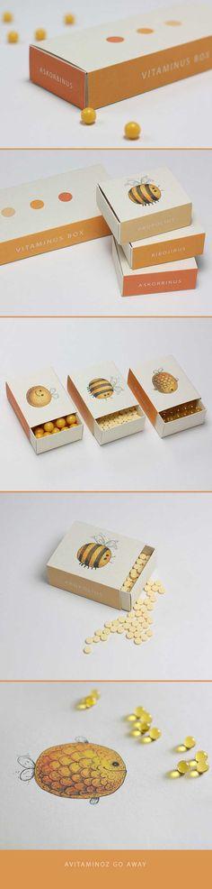 vitaminas en una caja de abejitas