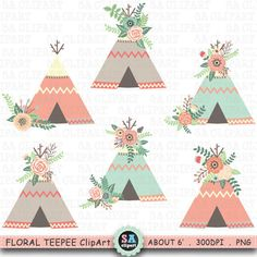 Floral Teepee ClipArt FLORAL TEEPEE clip