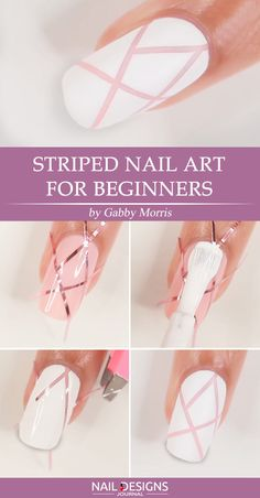 Super Easy Nail Designs DIY Tutorials ★ See more: naildesignsjourna. - Nail Designs: Super Easy Nail Designs DIY Tutorials ★ See more: … - Nail Art Hacks, Nail Art Diy, Easy Nail Art, Cool Nail Art, Diy Art, How To Nail Art, Nail Art Stripes, Striped Nails, Nail Designs Easy Diy