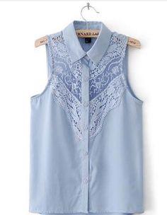 Camisa Feminina Detalhe em Renda