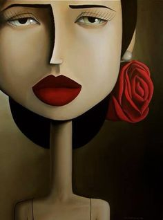 Big head long neck woman with red rose in her hair  & Red lips art ❤️