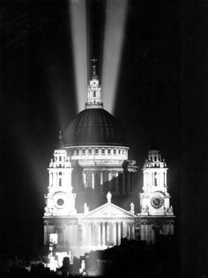St. Paul's Cathedral is shown floodlit for the first time in nearly six years on V-E Day, May 8, 1945.