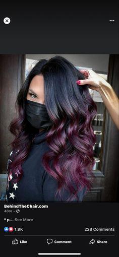 Burgundy Plum Hair Color, Red Ombre Hair, Hair Color Dark, Hair Colour, Red Peekaboo Highlights, Peekaboo Hair Colors, Hair Color Highlights, Mulberry Hair Color, Hairstyle Ideas