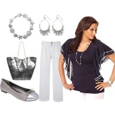 Navy Blue and Silver - Plus Size, created by intcon on Polyvore