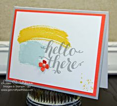 Get Crafty with Lisa:  Hello There.  This Hello There Card features Stampin' Up!'s Hello There (hostess-exclusive), Work of Art, and Gorgeous Grunge stamp sets, and the Itty Bitty Accent Punch Set, by Lisa Rhine, www.getcraftywithlisa.com