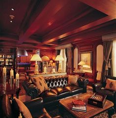 The original man cave, a cigar room. Dark wood, dark leather, and maybe sound proofing. Cigar Lounge Decor, Cigar Lounge Man Cave, Bar Lounge, Lounge Ideas, Home Bar Accessories, Cigar Room, Man Cave Home Bar, Design Furniture, Modern Furniture