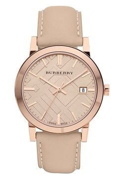 check stamped round dial watch / burberry