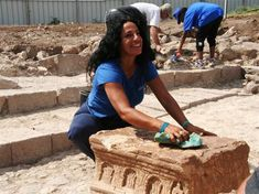 Archeologist Dina Gorni working at the site of what is believed to be a first century synagogue in the ancient town of Magdala, Israel.