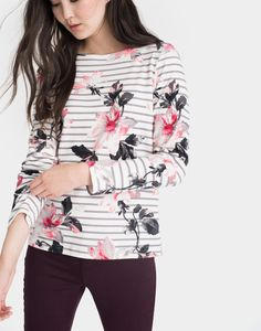 Harbour print Dhalia Floral Stripe Jersey Top | Joules UK