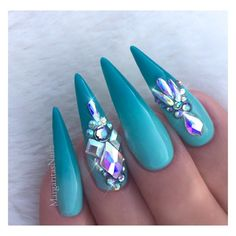Aqua Ombré Bling Stilettos by MargaritasNailz