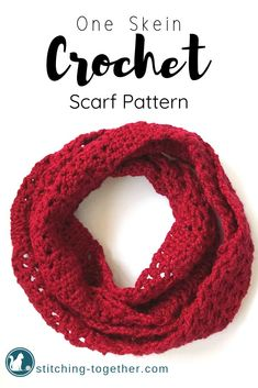 Crochet Scarf Simple one skein crochet scarf pattern you can whip up this weekend! One skein crochet project calls for Red Hearts soft yarn. One Skein Crochet, Quick Crochet, Wire Crochet, Crochet Scarves, Crochet Hats, Crochet Granny, Irish Crochet, Hand Crochet, Crochet Infinity Scarf Free Pattern