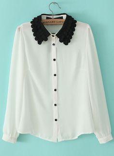 White Contrast Lace Lapel Long Sleeve Blouse US$30.33