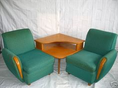 Heywood Wakefield chairs with the Heywood Wakefield corner table.... in really nice condition.