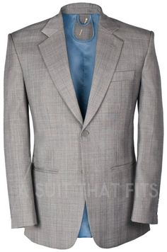 Grey Distinguished Two Piece Suit with a blue lining.