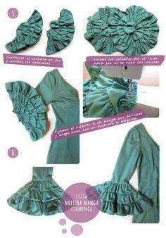 How do the sleeves of a flamingo dress Costume Patterns, Dress Patterns, Sewing Patterns, Couture Details, Fashion Details, Flamenco Skirt, Costume Tutorial, Sleeve Designs, Little Girl Dresses