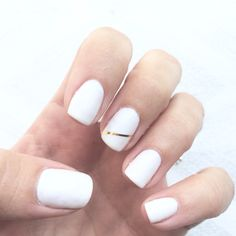 White modern gel nails with simple gold stripe, gelish and fingerpaints gel