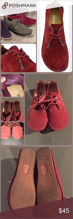 Clarks Originals Faraway Field shoe Clarks Originals Faraway Field lace up shoe in Red. Soft suede upper with soft blue stitching accents. Size 7.5, true to size. In excellent condition, worn once  🚫 trades 🚫 offsite sales Price is firm unless bundled Bundle discount is clearly stated Clarks Shoes