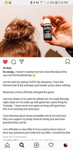 Rosemary oil instead of dry shampoo, interested to try Essential Oil Diffuser Blends, Doterra Essential Oils, Natural Essential Oils, Natural Oils, Essential Oil Dry Scalp, Yl Oils, Young Living Oils, Young Living Essential Oils, Young Living Hair