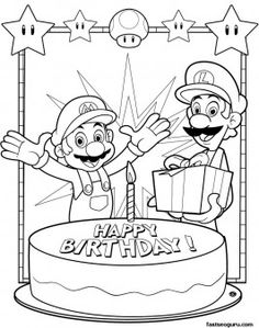 Printable Coloring pages Mario and Luigi happy birthday - Printable Coloring Pages For Kids