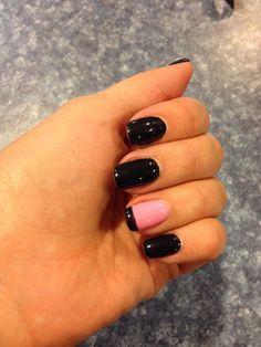 Black French tip gel polish nail art
