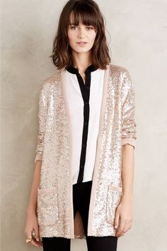 Rose Patch Elbow Sequin Detail Long Sleeve Waterfall Cardigan ...