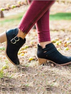 b257e872c3 Fashion Women Retro PU Adjustable Buckle Middle Heels Ankle Boots
