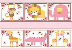 SAFARI WALLPAPER BORDER Wall Art Decals Baby Girl Jungle Nursery Decor Zoo Animals Kids Room Monkey Elephant Zebra Giraffe Bedroom Stickers #decampstudios