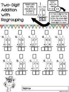 TWO-DIGIT ADDITION WORKSHEETS {WITH AND WITHOUT REGROUPING} - TeachersPayTeachers.com
