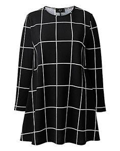 AX Paris Grid Print Swing Dress | Simply Be