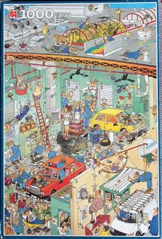Cars in the Make - Jan van Haasteren puzzels Hidden Pictures, Funny Pictures, Conversation Images, Illustration Story, Puzzle Art, Cartoon Art Styles, Arte Horror, Detail Art, Illustrations And Posters