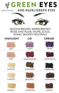 Younique eyeshadow colors for green eyes