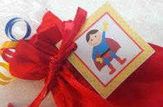 PARTY PACK Sets of 6 to 12 - Super Hero / Superman Red Favor Bags (Filled) by TeatotsPartyPlanning on Etsy