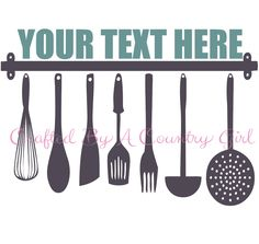 Kitchen Utensils Name Cut File SVG by CraftsByACountryGirl on Etsy