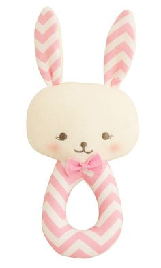 Designed in Australia by Alimrose Designs, this smart little bunny rattle will keep baby entertained while exercising hand and eye co-ordination. Teams perfectly with the Alimrose Chevron Bib.