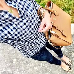 IG @mrscasual <click through to shop this look> gingham shirt. Jcrew skinny jeans. Steve Madden elusion Leopard flats. Tory burch Robinson tote. Monogram necklace.