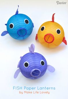 Learn how to make your own fish lantern decorations.  Instructions on the website:  http://blog.darice.com/basics/paper-lantern-fish-craft/