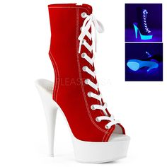 Pleaser Peep Toe Lace Up Ankle Boot Heel, 1 Platform Peep Toe, Open Heel Front Lace Up Ankle Boot Featuring Blacklight Reactive Platform Bottom, Outsole & Toplift, Full Inside Zip Closure Fringe Ankle Boots, Suede Ankle Boots, Mid Calf Boots, Heel Stretch, Glitter Boots, Platform Ankle Boots, Red Sneakers, Sneaker Heels, Pull On Boots