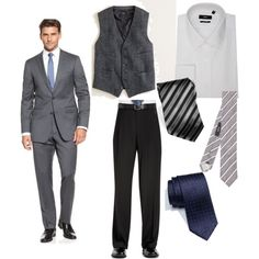 I'm loving the idea of keeping the men unified by the same new vest, but letting them wear their own pants and gifting a tie.  Alternately, a classic gray suit and navy pattern tie would also look great in photos.