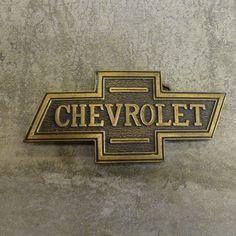 Vintage solid brass  Chevrolet Belt Buckle. Bowtie emblem.