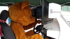 Uitdeelbeer krijgt een les over verkeersveiligheid