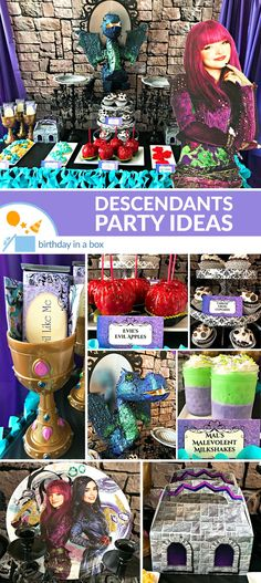 Feel like Chillin with all the villains at your Birthday Party? This Disney Descendants Party will help you bring all of Auradon into your home. 9th Birthday Parties, 5th Birthday, Home Birthday Party Ideas, Mary Birthday, Mickey Birthday, Princess Birthday, Villains Party, Disney Decendants, Birthday Party Centerpieces